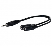 "3.5mm stereo Male to 2 Female adapter 8"" long splitter"