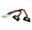 4 pin Molex to dual 15 pins SATA power adapter with clip