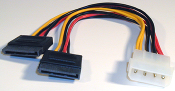 4 pin Molex to dual 15 pins SATA power adapter