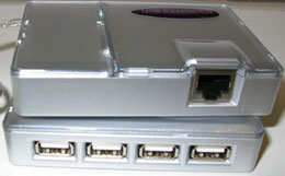 USB Extender over CAT 5 with 4 port Hub